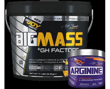Bigmass Gainer GH FACTORS Muz 5kg + Arginine 120g HEDİYE