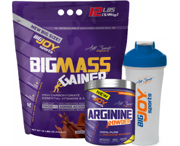 Bigmass Gainer 5440gr Çikolata + Arginine Powder 300 gr + Bigjoy shaker