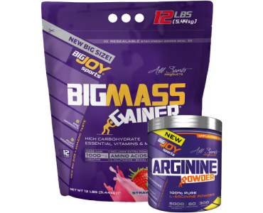 Bigmass Gainer 5440gr Çilek + Arginine Powder 300 gr + Bigjoy shaker