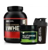 Optimum Gold Whey 2273gr + Optimum Glutamine 630gr + Shaker
