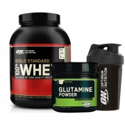 Optimum Gold Whey 2273gr + Optimum Glutamine 630gr + Shaker