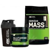 Optimum Serious Mass 5450gr + Optimum Glutamine 630gr + Shaker